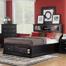 bedroom black wooden platform bed with bookcase headboard added