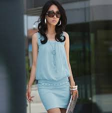 mature women mini dress for summer knitted material korean