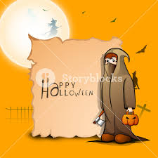 banner or background for halloween party with ghost on orange