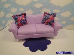 barbie doll house diorama living room furniture accessories purple