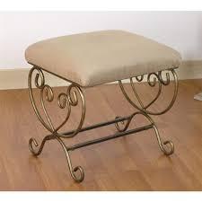 vanity stool w metal scroll legs u0026 upholstered seat