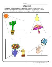 light and shadows lesson plans worksheet 1