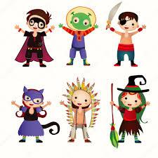 an illustration of kids in halloween costumes u2014 stock vector