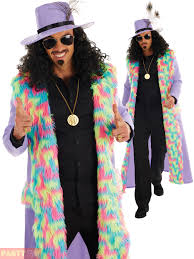 mens 1970s pimp coat u0026 hat fancy dress party costume size large