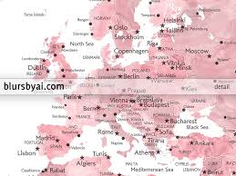 Greece On World Map Personalized Pink Watercolor Printable World Map With Cities