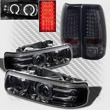 2001 silverado tail lights chevy silverado 1999 2002 smoked halo projector headlights and led