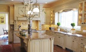 tuscan kitchen decor with wooden floor and kitchen island also a