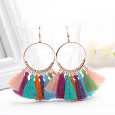 dangle earring 1 pair vintage bohemian earring fashion handmade cotton tassel