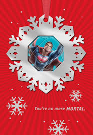 superman no mere mortal card with ornament greeting