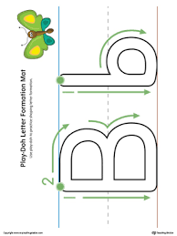 letter formation play doh mat letter b printable color