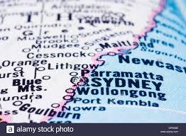 Map Australia Close Up Of Sydney On Map Australia Stock Photo Royalty Free
