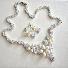 pearl necklace wedding set images Floral pearl and crystal wedding necklace earrings set cz pearl jpg