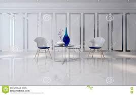 futuristic room with minimalist chairs and tables stock