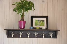 fork hook coat rack with shelf in stained dark brown idea