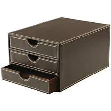 boite de rangement papier bureau osco boîte de rangement imitation cuir marron a4 3 tiroirs de