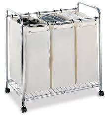 laundry divider hamper amazon com neu home chrome 3 section canvas bag laundry sorter