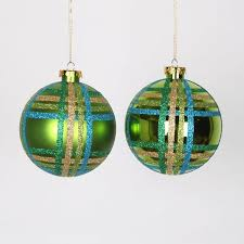 Glitter Christmas Ball Ornaments by Vickerman Glitter Plaid Shatterproof Christmas Ball Ornament