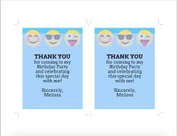 emoji birthday thank you card or insert card blue emoji birthday
