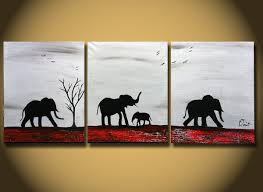 Elephant Decor For Living Room by Original Painting Large Abstract Elephants Family Silhouette