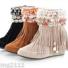 womens boots ebay womens boho shoes faux suede flower from longlong2111 on ebay