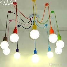 discount silicone colorful pendant lights diy multi color e27 bulb