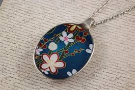 resin necklace designs images Upcycled recycled vintage spoon resin pendant necklace flowers jpg