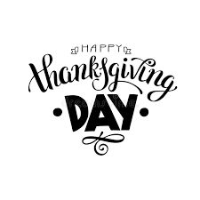 happy thanksgiving day black and white handwritten lettering ins