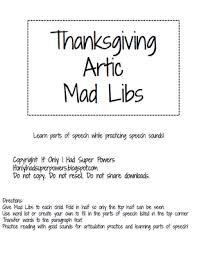 thanksgiving artic mad libs freebie from if only i had