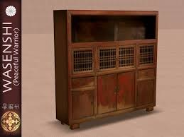 Traditional Japanese Kitchen - second life marketplace antique japanese kitchen cupboard 1