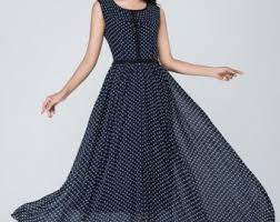 polka dot dress prom dress black white dress chiffon dress