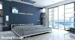 modern concise generous floor tiles painted blue wall bedroom