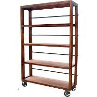 open wood and metal bookcase on wheels rc willey furniture store