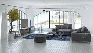comfortable spacious grey and white living room interior with