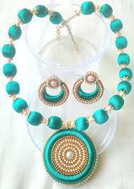 beautiful earring necklace set images Mds peacock blue silk thread necklace with double side dollar and jpg