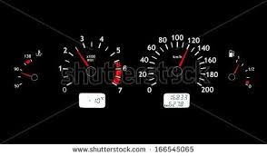 Red Colors Glowing Car Dashboards Black Red Colors Stock Illustration