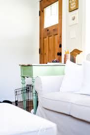 Dog Crate Covers Diy Dog Crate Cover Ten Minute Farmhouse Style Ikea Curtain Hack