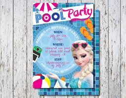 frozen pool party invitation elsa pool party invite beach ball