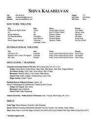 Music Resume Template Shiva Kalaiselvan U2014 Columbia University Actors Graduate Theatre