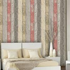 reclaimed wood panel effect faux wallpaper orange sample
