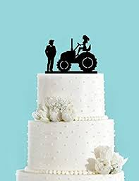 country wedding cake topper country wedding and on tractor acrylic