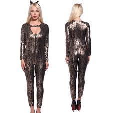 women pvc wetlook lingerie halloween leopard catwoman catsuit
