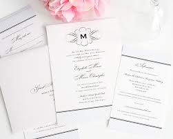 vintage wedding invitations with monogram and blue crosshatch