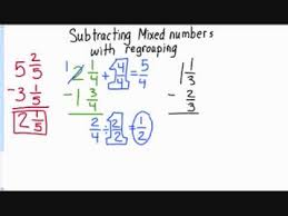 subtracting mixed fractions w regrouping video reteach