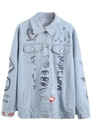 Light Denim Jacket Light Blue Lapel Long Sleeve Cartoon Print Denim Jacket