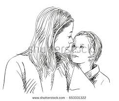 portrait happy mother daughter looking each stock vector 653331322