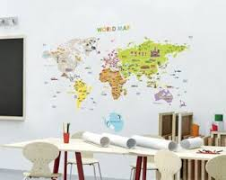 Kids Room Wall Decor Stickers by World Map Decal Etsy