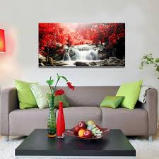 canvas painting for home decoration amazon com youkiswall art red waterfall 40 inch by 20 inch framed