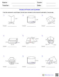 ideas of 6th grade surface area and volume worksheets with