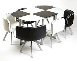 Dining Room Table Pad Modern Black And White Melamine Dining Table Using Silver Metal