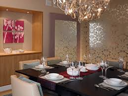 stencil damask dining room contemporary with wallpaper leather